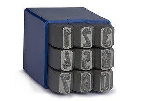 Фото Клейма цифровые ударные металлические (цифры 0:9, высота 7 мм, длина стержня 75 мм, упаковка 9 штук)